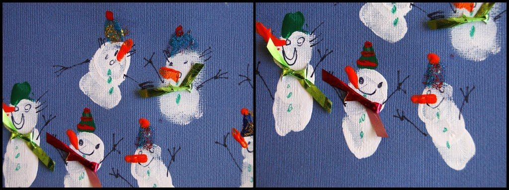 How to make snowmen from fingerprints