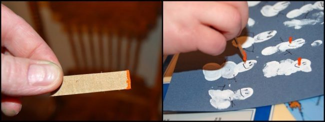Painting carrot noses with cardboard strips