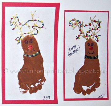 Footprint Reindeer wearing Christmas Lights - Fun Handprint Art