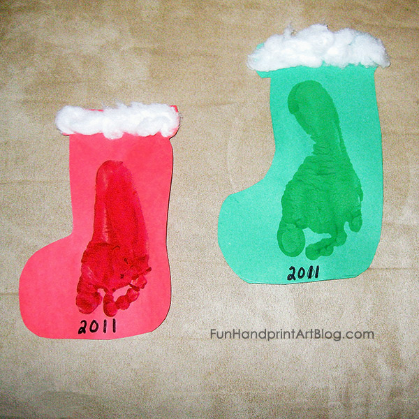 Footprint Stockings - Easy Christmas Craft For Toddlers