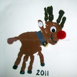 Double Handprint Rudolf the Red-Nosed Reindeer Craft