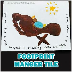 Footprint Manger Tile - Christmas Gift Idea for Parents from Child