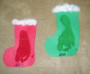 Footprint Stockings with Cotton Balls - Christmas Craft for Preschoolers