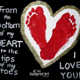 Footprint Heart: I Love You from the Bottom of my Heart Poem
