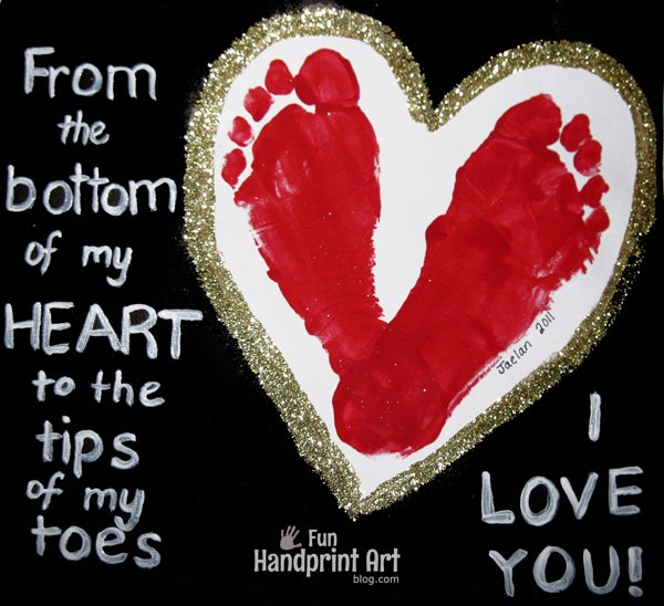 Footprint Heart with Poem Keepsake: From the bottom of my heart to the tips of my toes I LOVE YOU!