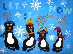 Winter Canvas Art: Footprint Penguins