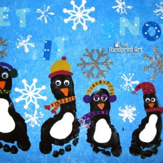 Winter Canvas Art: Footprint Penguins