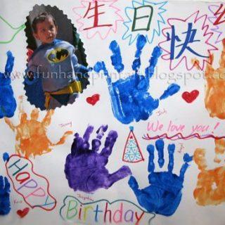 Giant Handprint Birthday Card from classmates