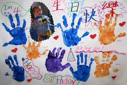Giant Handprint Birthday Card from classmates Fun Handprint Art