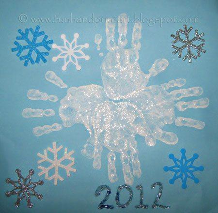 Shimmery Glitter Handprint Snowflake - Winter Craft for Kids