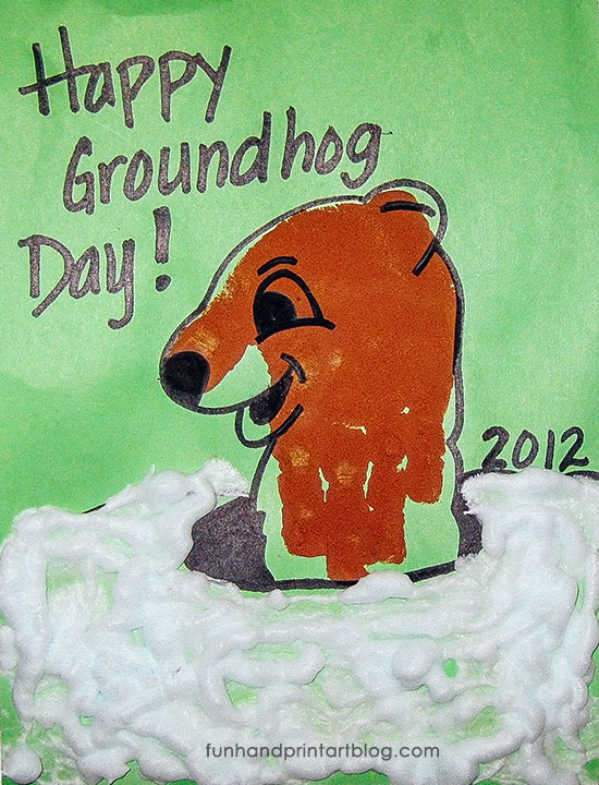 Handprint Groundhog Craft With Puffy Snow Paint February Theme