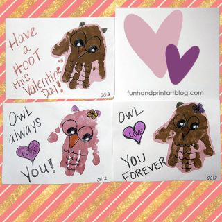 Sweet Handprint Owl Valentine's Day Cards and Sayings