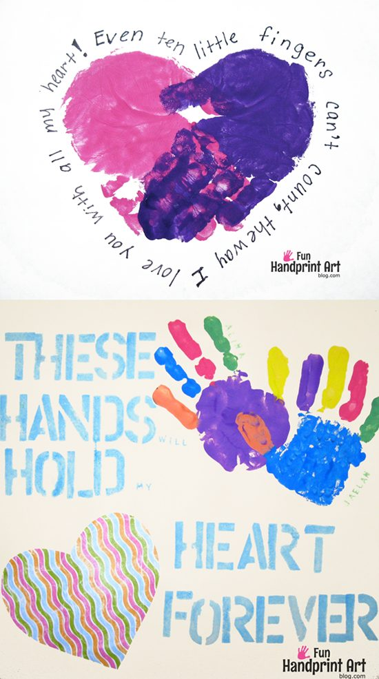 Mother's Day Handprint Crafts with cute poems