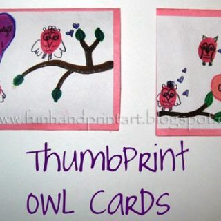 Thumbprint Owl Valentine's Day Cards