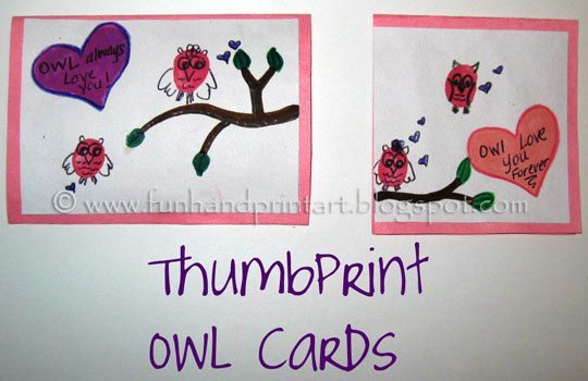 Thumbprint Owl Valentines Day Cards Fun Handprint Art – Owl Valentines Day Cards
