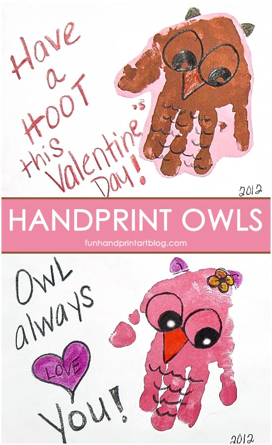 Valentines Day Cards: Handprint Owls with Sweet Sayings