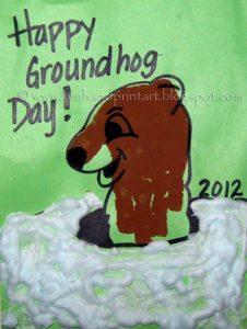 Make a Handprint Groundhog Craft this Winter