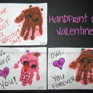 Handprint Owl Valentine's Day Cards