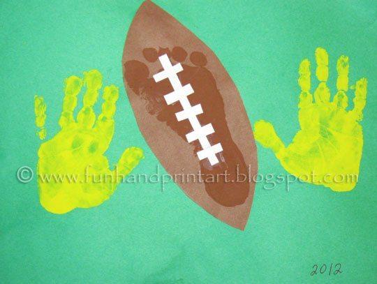 Handprint footprint football craft fun handprint art for Football crafts for preschoolers