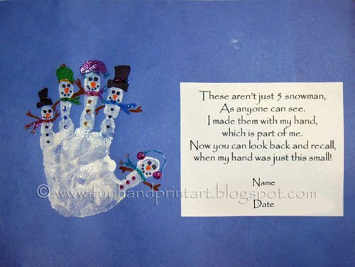 Snowman Handprint Craft with Poem