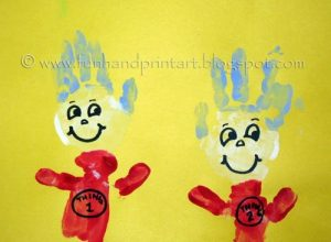 Handprint Thing 1 and Thing 2 Craft for Dr Seuss Theme
