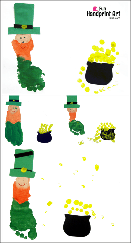 graphic regarding Leprechaun Feet Printable called Footprint Leprechaun Craft Wee Leprechaun Footprints