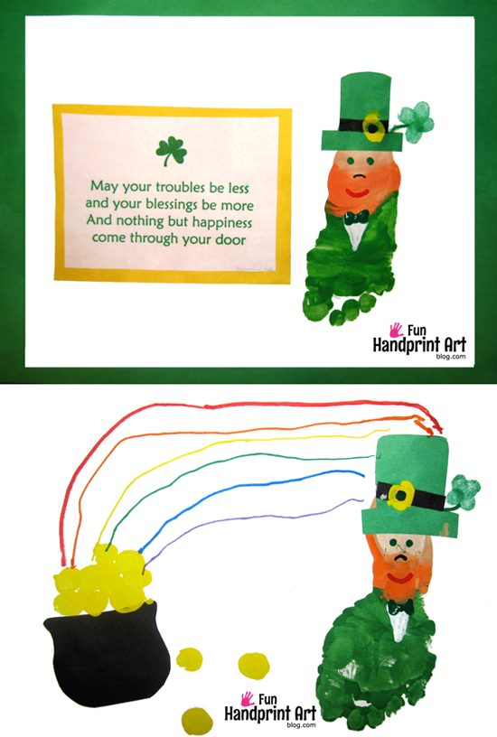 St Patrick's Day Kids Craft Footprint Leprechaun