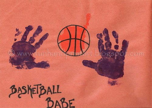 Handprint basketball march madness craft fun handprint art for Crafts for 14 month old