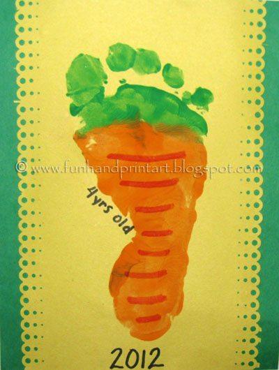 Footprint Carrot Craft for Easter - Fun Handprint Art
