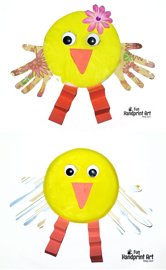 Paper Plate Handprint Chicks - Cute Easter or Spring Craft for Kids