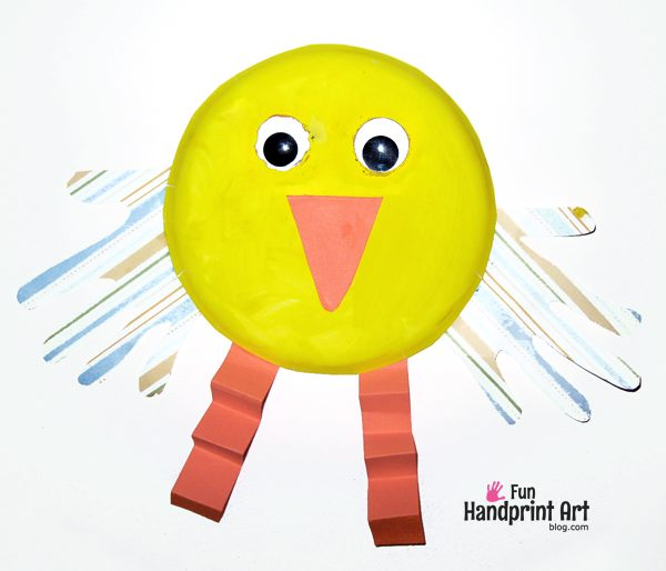 Kids Craft: Paper Plate Easter Chick with handprints