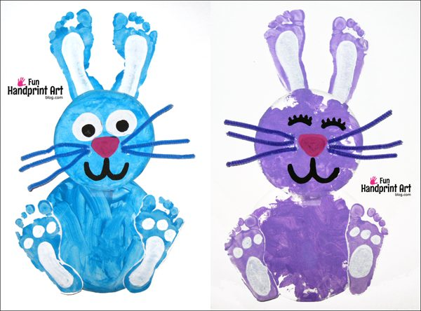 paper plate footprint bunny easter craft fun handprint art