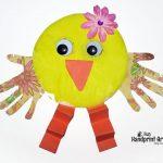 Paper Plate Handprint Chicks – Easter Craft