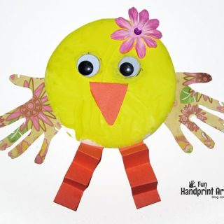 Paper Plate Handprint Chicks – Easter Craft