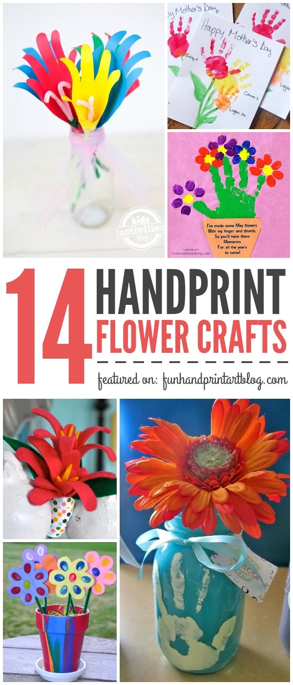 14 Handprint Flower Crafts for SPring, Mother's Day, or Grandparent's Day