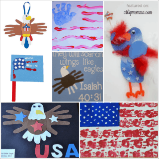 Patriotic Kids Crafts: Handprint American Flags & Eagles