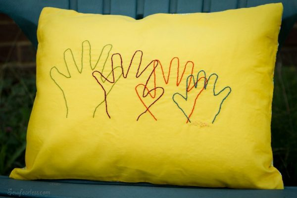 Embroidered Hands Family Keepsake Pillow