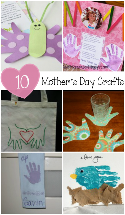 10 Mother's Day Crafts from Kids made with Handprints