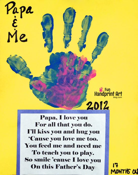 Daddy Me Handprint Craft For Father S Day Fun Handprint Art