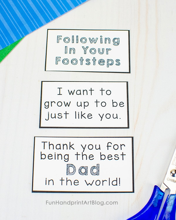 Footprint Sayings for Dad From Kids