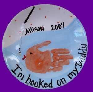 I'm Hooked On My Daddy handprint plate