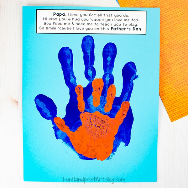 Daddy and Me Handprint Keepsake with Poem for Father's Day - orange and blue