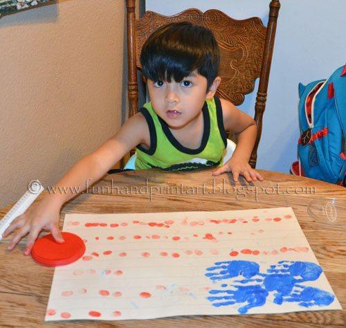 4th of July Craft for Kids: Fingerprint Flag