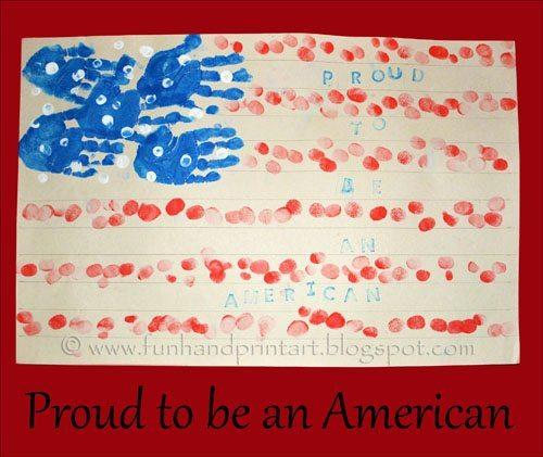 Handprint & Fingerprint American Flag craft for 4th of July