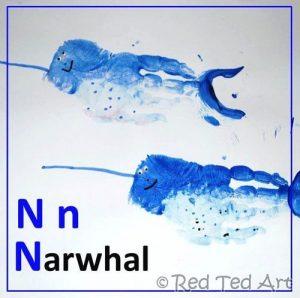 Letter L Craft: Handprint Narwhal