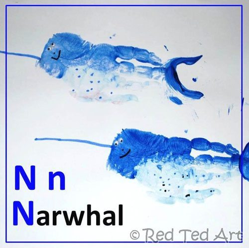 handprint narwhal letter N craft