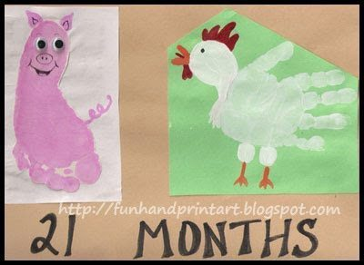 Footprint Pig And Handprint Chicken Craft For Kids