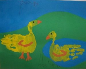 Handprint Duck - Farm Animal craft idea