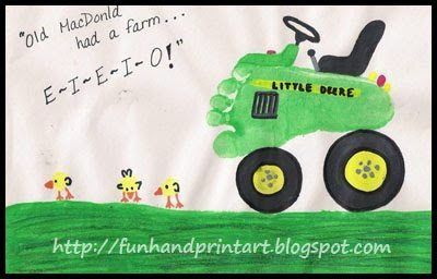 Footprint Tractor craft for kids