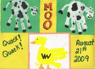 Handprint Cow and Duck craft for kids